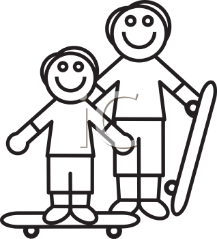 Royalty Free Clipart Image of a Father and Son Skateboarding