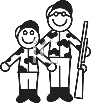 Royalty Free Clipart Image of a Father and Son Going Hunting