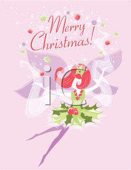 Royalty Free Clipart Image of a Sugar Plum Fairy Christmas Card