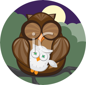 Royalty Free Clipart Image of an Owl With a Stuffed Owl Napping at Night