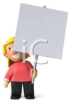 Royalty Free Clipart Image of a Woman Holding a Blank Placard