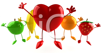 Royalty Free Clipart Image of a Heart and Fruit Cheering