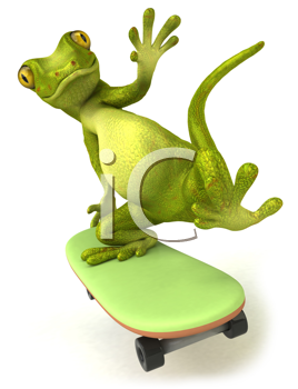 Royalty Free Clipart Image of a Frog Doing Tricks on a Skateboard