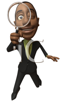 Royalty Free 3d Clipart Image of an African American Businessman Looking Through a Magnifying Glass