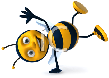 Royalty Free Clipart Image of a Bee Doing a Handspring