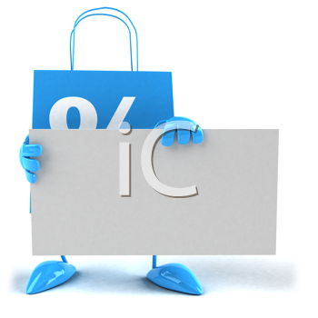 Royalty Free Clipart Image of a Bag With a Blank Sign