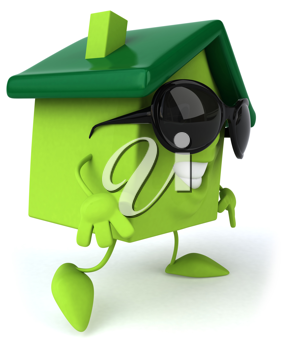Royalty Free 3d Clipart Image of a House Wearing Sunglasses