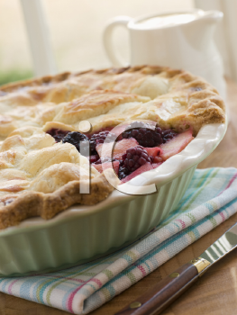 Royalty Free Photo of Hot Blackberry and Apple Pie