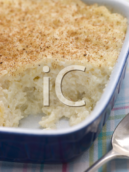 Royalty Free Photo of a Dish of Creamed Rice Pudding With Nutmeg