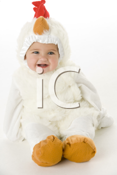 Royalty Free Photo of a Baby in a Chicken Costume