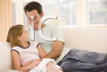 Royalty Free Photo of a Father and Daughter at Home