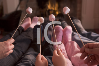 Royalty Free Photo of a Family With Marshmallows on Sticks