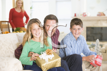 Royalty Free Photo of a Family at Christmas