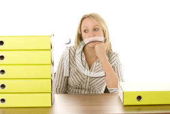 Royalty Free Photo of a Woman With a Stack of Folders
