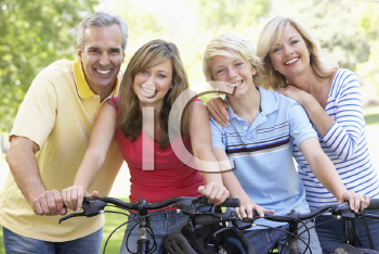 Royalty Free Photo of a Family With Bikes