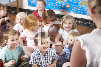 Royalty Free Photo of Preschoolers With Their Teacher