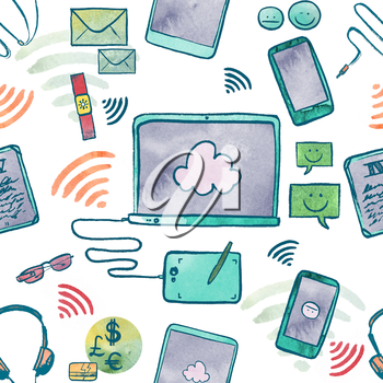Watercolor Illustration Of Communication Technology Devices
