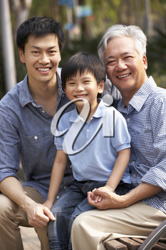 Male Multi Genenration Chinese Family Group Sitting On Bench In Park Together
