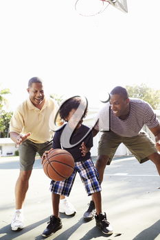 Grandfather With Son And Grandson Playing Basketball