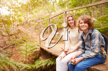 Siblings sitting on a wooden bridge playing in a forest