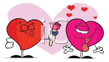 Royalty Free Clipart Image of a Male Heart Giving a Female Heart a Flower