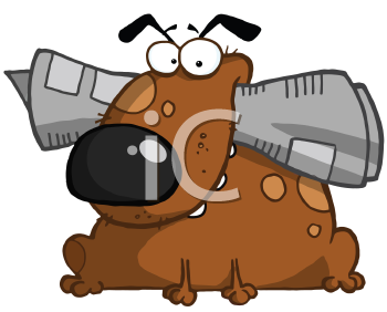 Royalty Free Clipart Image of a Dog With a Newspaper