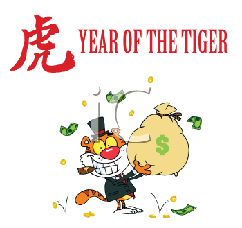 Royalty Free Clipart Image of a Tiger With a Bag of Money on a Year of the Tiger Design