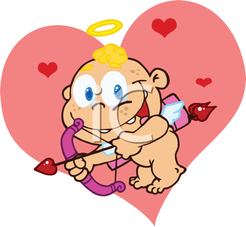 Royalty Free Clipart Image of a Cute Cupid With a Bow and Arrow