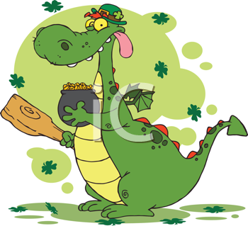 Royalty Free Clipart Image of a Leprechaun Dragon With a Pot of Gold and a Mace