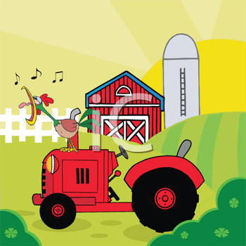 Royalty Free Clipart Image of a Crowing Rooster on a Tractor