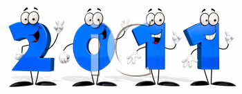 Royalty Free Clipart Image of Blue Numbers for 2011