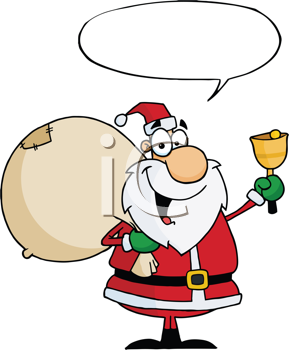 Royalty Free Clipart Image of Santa Ringing a Bell and a Speech Bubble