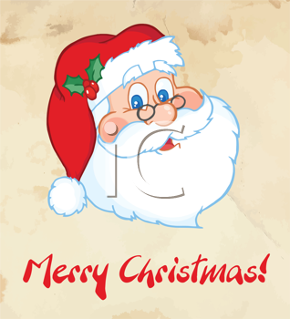 Royalty Free Clipart Image of a Merry Christmas Greeting With Santa's Face
