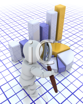 Royalty Free Clipart Image of a 3D Guy Looking Through a Magnifying Glass at Charts and Graphs