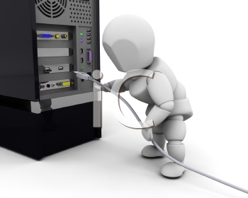 Royalty Free Clipart Image of a Person Plugging in a Computer Cable