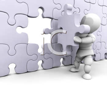Royalty Free Clipart Image of a Person Completing a Puzzle
