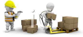 Royalty Free Clipart Image of a Guy Stacking Boxes While Another Writes on a Clipboard
