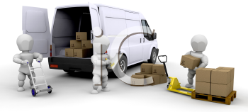 Royalty Free Clipart Image of People Loading Boxes Into a Van