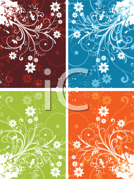 Various coloured floral grunge backgrounds