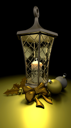 3D render of traditional christmas lantern with candle and decorations