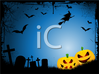 Spooky Halloween background with evil pumpkins and a witch on broomstick