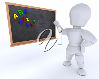3D render of a man with school chalk board back to school