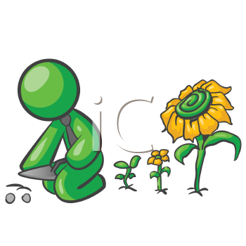 Royalty Free Clipart Image of a Green Man Planting Flowers