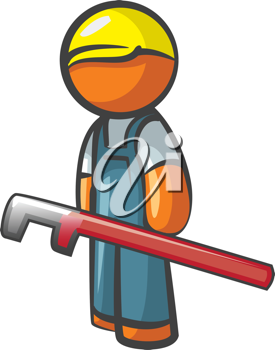 Orange Man plumber with pipe wrench, working.