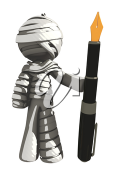 Mummy or Personal Injury Concept with Giant Fountain Pen