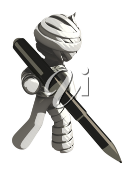 Mummy or Personal Injury Concept Writing with Large Pen