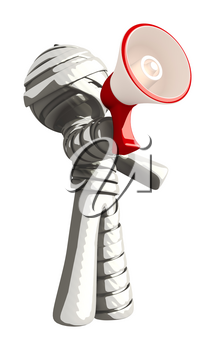 Mummy or Personal Injury Concept Shouting Through Megaphone