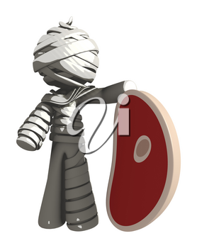 Mummy or Personal Injury Concept Holding a Steak