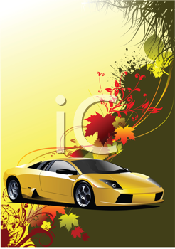 Royalty Free Clipart Image of a Sport Car on an Autumn Leaf Background