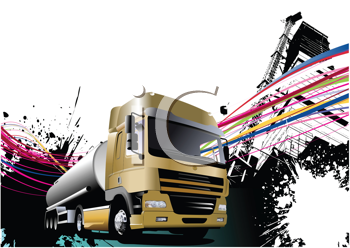 Royalty Free Clipart Image of a Fuel Truck on a Grunge Background